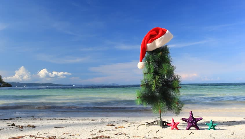 Christmas tree at the beach for your Holiday Portraits at the beach in Cancun