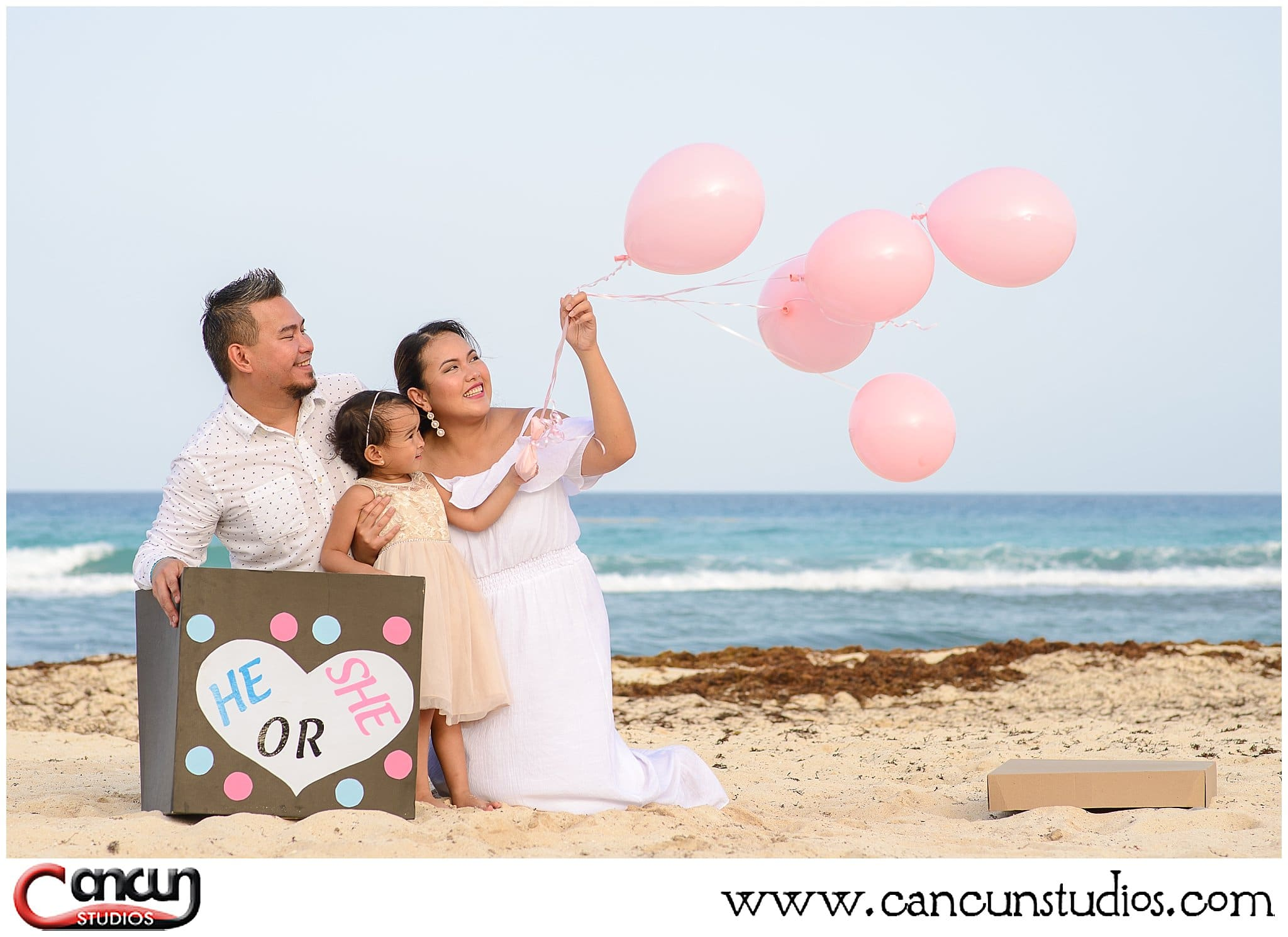 Baby Gender reveal on the beach in Cancun